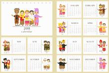 2018 Calendar With Indonesian Traditional Clothes. Indonesian Children Wearing Traditional Clothes. Printable 2018 Calendar Template, Vector Design.