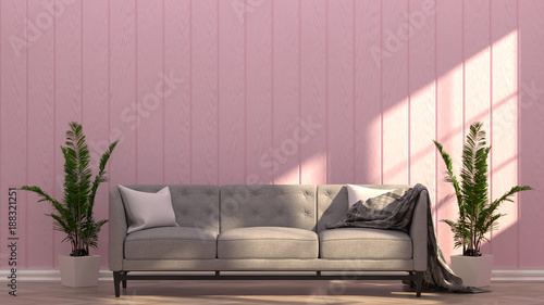 Gray couch in the pink room vintage style living room 3D rendering ...