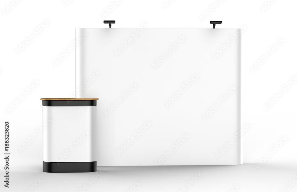 Fototapeta Exhibition Tension Fabric Display Banner Stand Backdrop for trade show advertising stand with LED OR Halogen Light with pop up counter.. 3d render illustration.