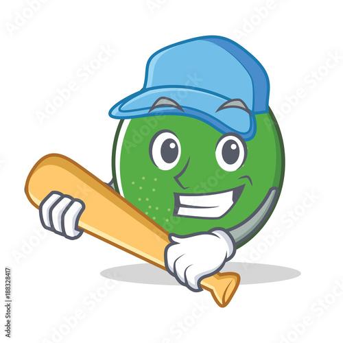 Photo  Playing baseball lime character cartoon style