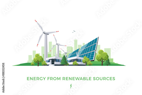 Obraz Isolated vector illustration of clean electric energy from renewable sources sun and wind. Power plant station buildings with solar panels and wind turbines on city skyline urban landscape background. - fototapety do salonu