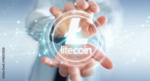 Poster Pharmacie Businessman using litecoins cryptocurrency 3D rendering