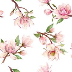 Fototapeta Do pokoju Watercolor magnolia floral vector pattern