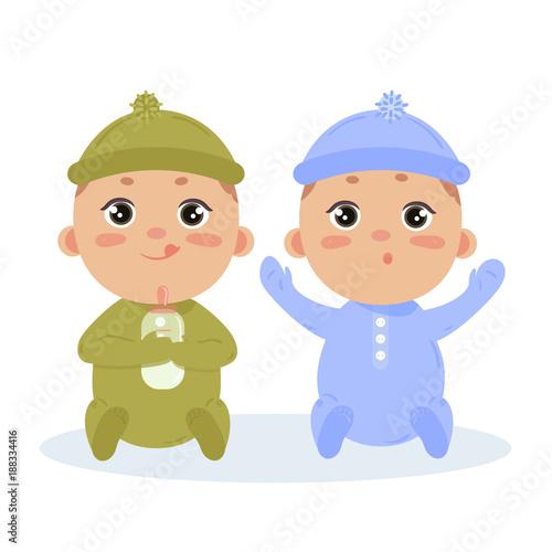 Fényképezés Newborn baby boy twins in long sleeved footies and scratch mittens