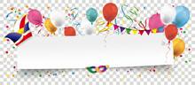 Papier Banner Mit Narrenkappe, Konfetti Und Luftballons Transparent