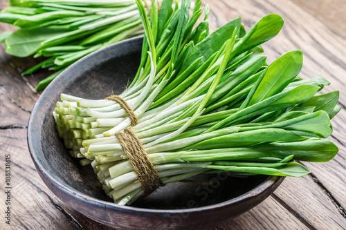 Foto auf Gartenposter Kräuter Young fresh wild garlic on the wooden table.