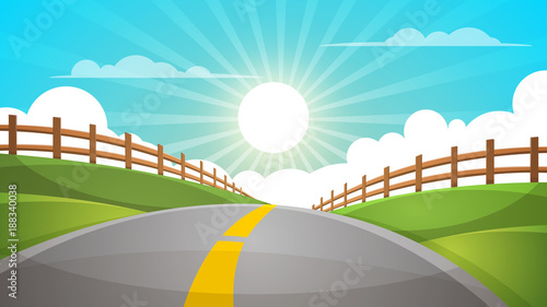 Poster Turquoise Cartoon hill landscape. Road, travel illustration, fence Vector eps 10