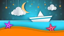 Ship, Paper Landscape, Sea, Cl...