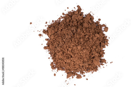 Carta da parati A pile of a brown cocoa  chocolate powder isolated on white background