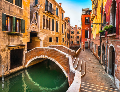 Venice cityscape, buildings, water canal and bridge. Italy