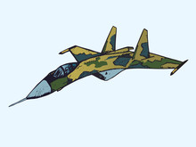 Military Airplane Su In Camouflage Colors, Hand Drawn Doodle Sketch, Isolated Vector Color Illustration