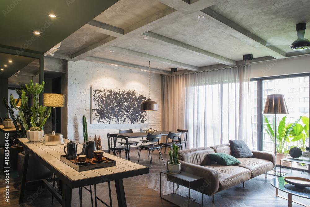 Beautiful contemporary living room home interior. Foto, Poster ...