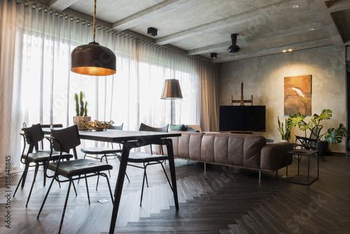 Obraz Beautiful contemporary living room home interior. - fototapety do salonu