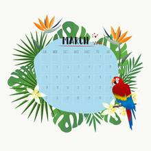 March 2018 Calendar With Tropi...