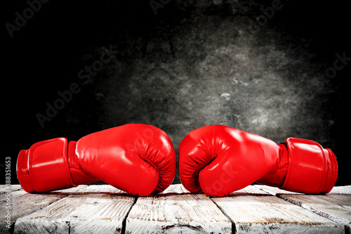 Canvas Print boxing gloves and free space for your decoration.