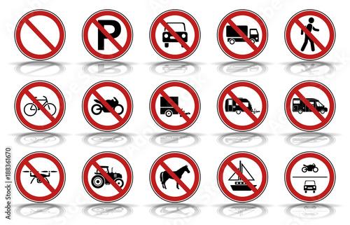 15 verbots  warnschilder  straßenverkehr in rot