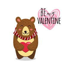 Cute Vector Illustration. Toy Teddy Bear With Heart. Can Be Used For Valentines Postcard, Celebration Postcard, Invitation, Scrapbooking.
