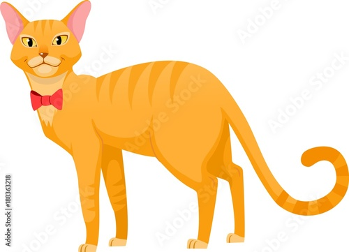 Poster Pony red cat with red butterfly, vector