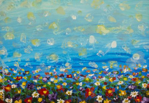 obraz olejny fioletowy kosmos kwiat, biała stokrotka, chaber, wildflower. Kwiaty łąka, zielone pola obrazy. Ręcznie malowane kwiatowy i zielone błękitne niebo. Wiosenny kwiat natura tło