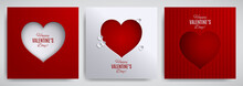 Valentine's Day Set. Greeting Card, Poster, Flyer, Banner Design Collection. Cutted Paper Heart On White / Red Striped Satin Background, Paper Cut Out Art Style. Vector Illustration, Layers Isolated