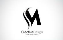 M Letter Design Brush Paint St...