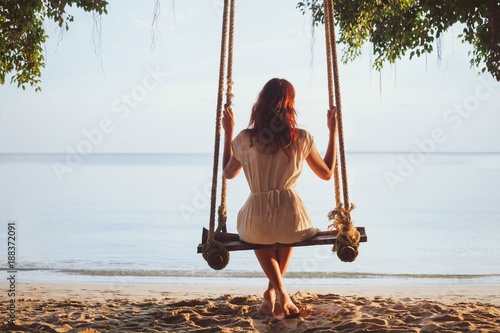relaxation, woman on beach swing