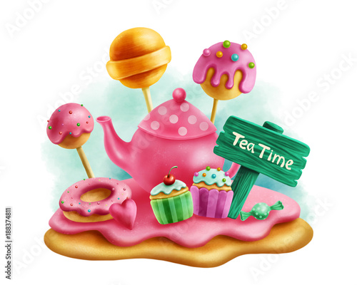 Magic sweets for tea party Fototapet