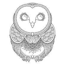 Vector Zendoodle Ornate Owl Il...