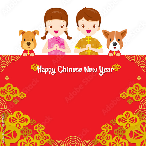 happy chinese new year border with children traditional celebration china spring festival