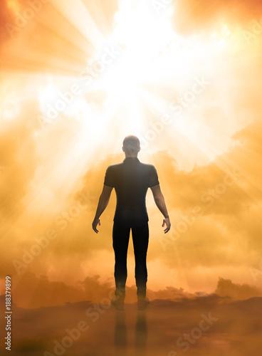 Man facing a near death experience concept Wallpaper Mural