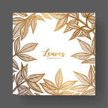 Gold Design Template For Wedding Invitations, Greeting Cards, Labels, Packaging Design, Frame For Inspirational Quotes. A Beautiful Golden Frame Of Peony Leaves.