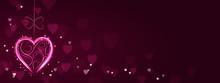 Neon Pink Heart Banner/Card