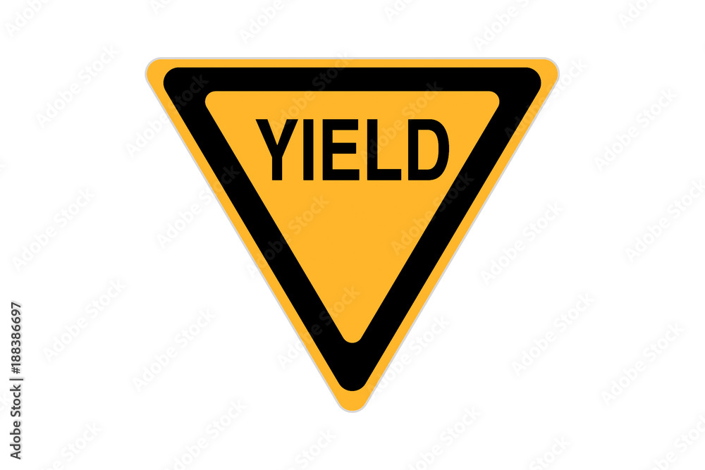 Fototapeta yield icon sign black and yellow isolated on white background