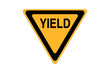 canvas print picture - yield icon sign black and yellow isolated on white background