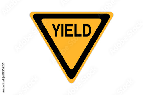 Obraz yield icon sign black and yellow isolated on white background - fototapety do salonu
