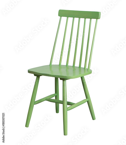 Green wood chair isolated on white background Fototapeta