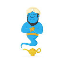 Genie And Magic Lamp Vector Ca...