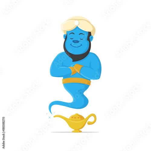 Foto Genie and magic lamp vector cartoon mascot illustration