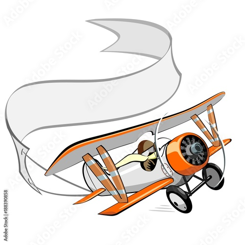 cartoon biplane with blank banner Canvas Print