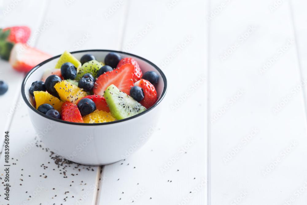 Fresh organic fruit salad with chia seeds
