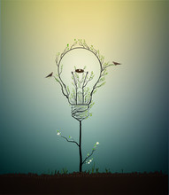 Lightbulb Created From The Leaves And Looks Like Spring Tree Growing On Soil With Birds And Nest, Green Energy Concept,