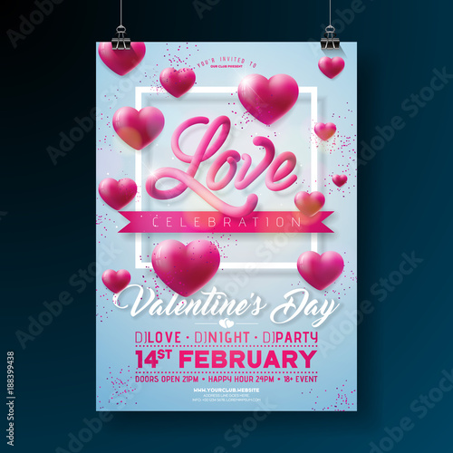 Vector valentines day party flyer design with love typography letter vector valentines day party flyer design with love typography letter and heart on clean background stopboris Images