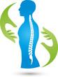 Mensch, Hände, Wirbelsäule, Massage, Orthopädie, Medizin, Logo