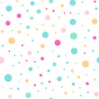 Colorful polka dots seamless pattern on white 3 background. Nice classic colorful polka dots textile pattern. Seamless scattered confetti fall chaotic decor. Abstract vector illustration.