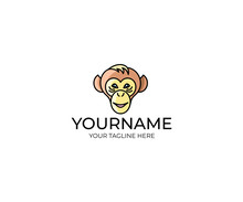 Monkey Face Logo Template. Chi...