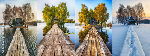 Fotografie, Obraz  four seasons. picturesque small house on a small island