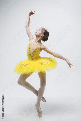 Fotografie, Obraz Young classical dancer on white background.