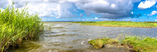 Spring Nature Panorama Of Lake...