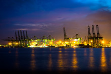 Singapore Oil Refinery At Night
