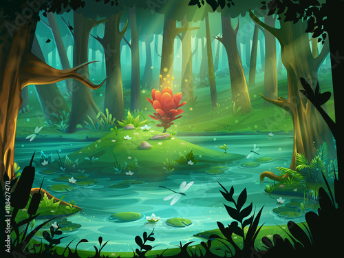 Fotografie, Obraz  The Scarlet Flower on an island in a swamp in the forest